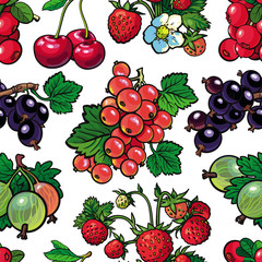 Summer berries seamless pattern with fresh ripe fruits and green leaves in sketch style on white background. Hand drawn natural backdrop with organic sweet food in vector illustration.