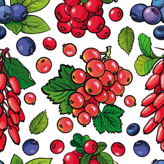 Summer berries seamless pattern with fresh ripe fruits and green leaves in sketch style on white background - hand drawn natural backdrop with organic sweet food in vector illustration.