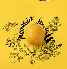"One ripe pumpkin isolated on yellow with ""pumpkin smoothie"" lettering and floral illustration"