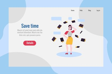 Save time poster with adult woman in skirt, casual clothing standing in thoughtful pose spreading hands, scratching head with negative emotions with books around. Vector illustration