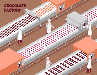 Chocolate Factory Isometric Background