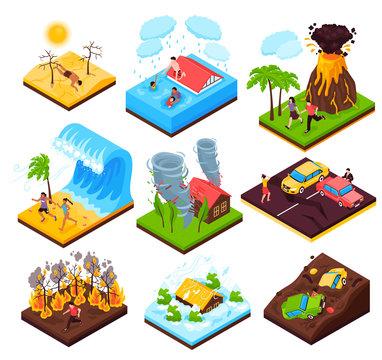Natural Disaster Isometric Set