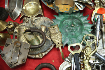 Lock, hook, metal openers at the flea market. Moscow.  07.02.2018