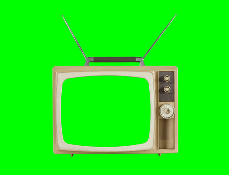 1960s Television with Antennas and Chroma Green Background and Screen