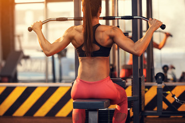 Bodybuilder female on training in gym, back view