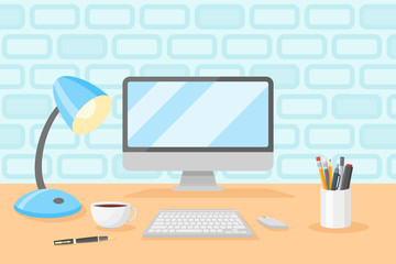 Desktop with personal computer, table lamp, cup of coffee, pencils and pens. Workplace flat style vector illustration.