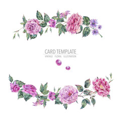 Decorative vintage watercolor pink roses wreath Botanical colorful illustration