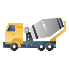 Concrete mixer truck gradient illustration