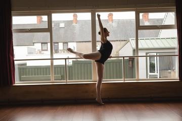 Ballerina practice arabesque ballet position