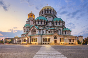 Alexander Nevsky Cathedral in Sofia, Bulgaria at sunset