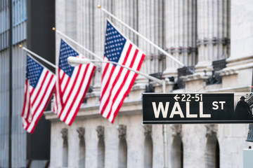 Fotobehang Amerikaanse Plekken Wall Street in Lower Manhattan, New York City, USA
