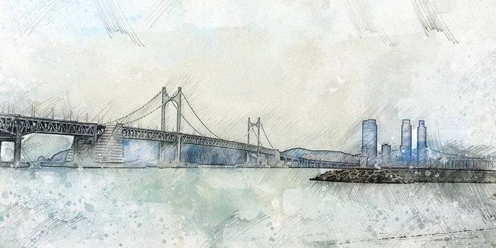 Watercolor style Busan's Sea and Bridge