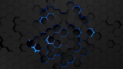 Technological hexagonal background with blue neon illumination