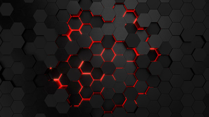 Technological hexagonal background with red neon illumination