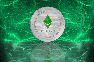 Ethereum (ETH) digital crypto currency. Silver coin of ether on the background of lightning. Cyber money.
