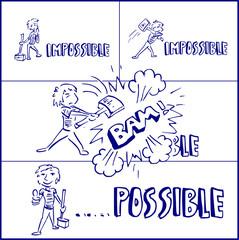 Cartoon concept van onmogelijk mogelijk maken