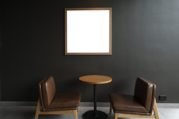 Modern desk with wall background