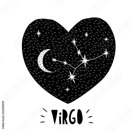 Virgo Symbol Hand Drawn Zodiac Vector Illustration White