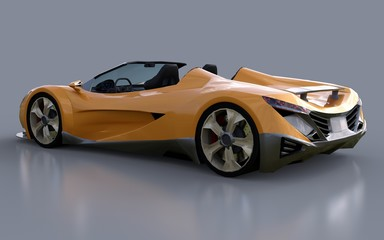 Orange conceptual sports cabriolet for driving around the city and racing track on a gray background. 3d rendering.