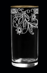 Beautiful transparent glass on a black background.