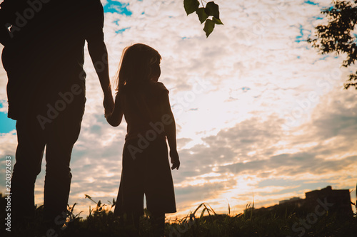 4k Silhouette Of A Family Father Mother And Two Children Son And