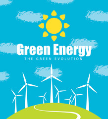 Vector banner on the theme of Green energy and Green Evolution. Landscape with wind turbines on the green hill, with sun and clouds in the sky. The environmental protection and ecology of planet