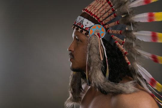 Moody native american indian portrait