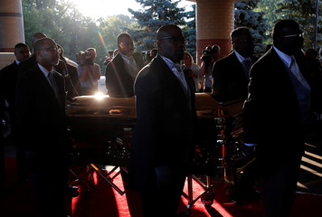 The casket carrying the late singer Aretha Franklin arrives at the Greater Grace Temple for her funeral service in Detroit