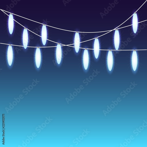 Glowing Christmas Lights Or Bright Party Vector Mock Up Template Set Of