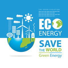 Vector banner on the theme of environmental protection and ecology of planet. Planet Earth, solar panels, wind turbines and words Eco energy, Safe the World, Green energy