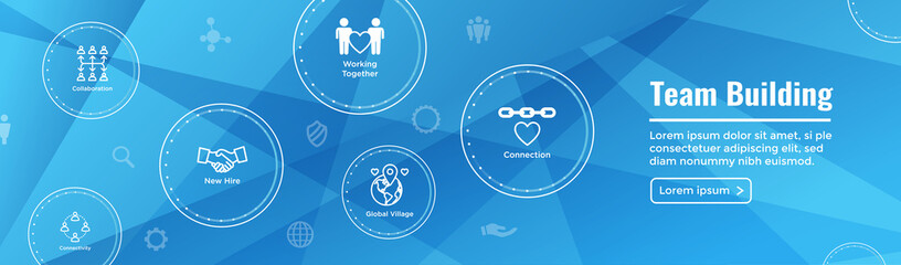 Team Building, Teamwork, - Connectivity Icon Set with Stick Figures and Intersections Web Header Banner