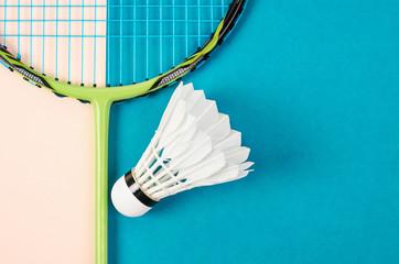 shuttlecock and badminton racket.