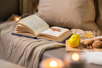 Fototapete - hygge and cozy home concept - book with autumn leaf, lemons and oatmeal cookies on sofa