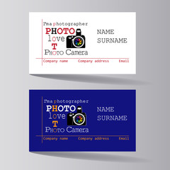 Business cards are white and blue. Set. Design of business cards for photo studio, atelier.