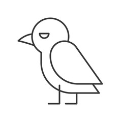 cute crow bird icon, halloween character editable stroke