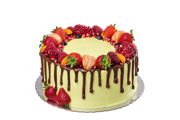 Delicious birthday cake or holiday. On a white background.