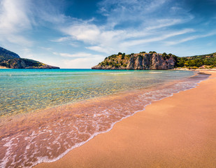 Colorful spring view of Voidokilia beach. Bright morning scene on the Ionian Sea, Pilos town location, Greece, Europe. Beauty of nature concept background. Artistic style post processed photo.