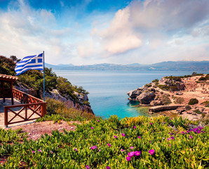 Splendid spring view of West Court of Heraion of Perachora, Limni Vouliagmenis location. Colorful morning seascape of Aegean sea, Greece, Europe. Traveling concept background.