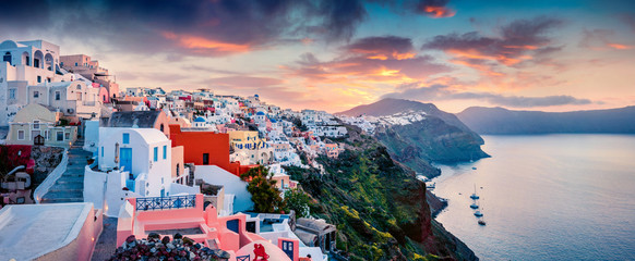 Aluminium Prints Santorini Great morning panorama of Santorini island. Picturesque spring sunrise on the famous Greek resort Oia, Greece, Europe. Traveling concept background. Artistic style post processed photo.