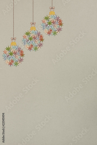 Christmas Ornaments On Old Paper Vintage Style Stock Photo