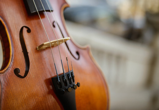 Detail of violin. Selective focus with shallow depth of field.