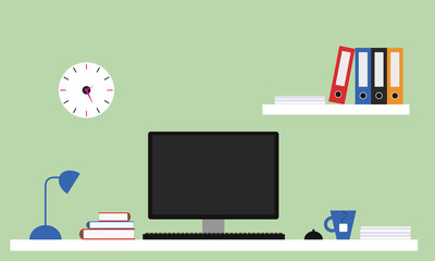 Flat design office illustration with white desk, computer with monitor, lamp and tea pot, shelf with files and books. Green wall with clock.