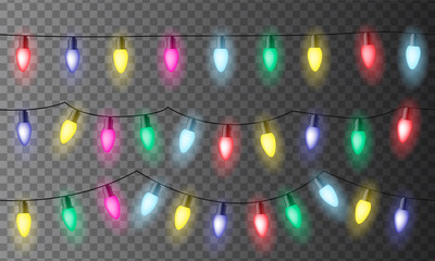 Set of three chains of colorful Christmas lights or celebration lights with red, green yellow and blue light, isolated on transparent background - vector, seamless Wall mural