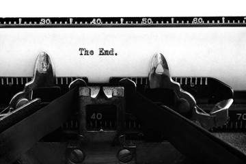 Vintage Old Typewriter Keys and Characters Typed Words The End Story Ending