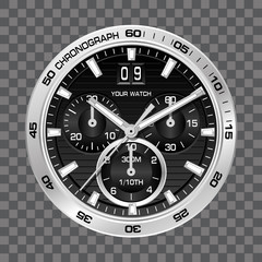 Silver watch clock chronograph face luxury on grey checkered background vector illustration.