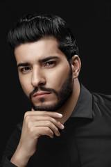 Men Haircut. Man With Hair Style, Beard And Beauty Face Portrait