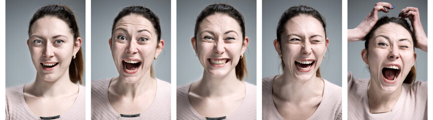 The collage of young woman's portraits with different happy emotions