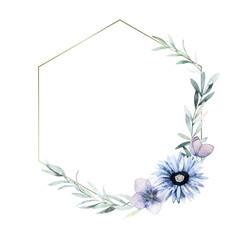 Watercolor geometric frame for card, wedding, greeting, invitation. Hand drawn illustration