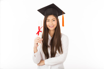 Beautiful Attractive Asian woman graduated in cap and gown smile with certificated in her hand feeling so proud and happiness,Isolated on white background,Education Success Concept