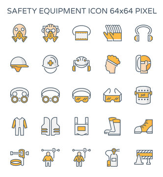 Safety equipment icon or personal protective equipment (PPE) in construction work. Consist of respirator, glove, hard hat, mask, vest, boot and harness etc. For protect worker from injury or infection